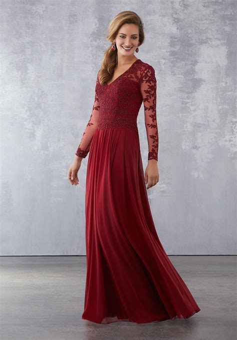 MGNY by Morilee 71727 Sheer Sleeve Mother of Bride Dress