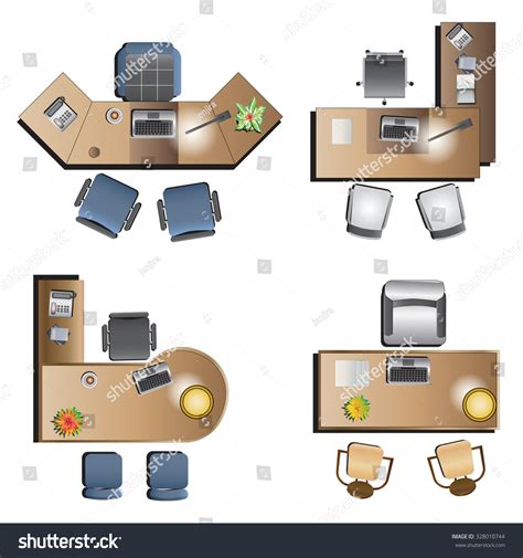top office furniture and office office furniture top view interior vector stock vector