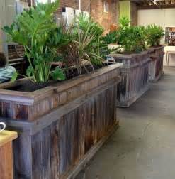 Reclaimed Wood Divider reclaimed wood planter boxes open space office dividers
