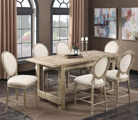 emerald home furnishings dining room dining table with interlude sandstone gathering height dining room set d560