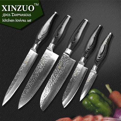 japanese damascus kitchen knives aliexpress com buy xinzuo 5 pcs kitchen knives sets