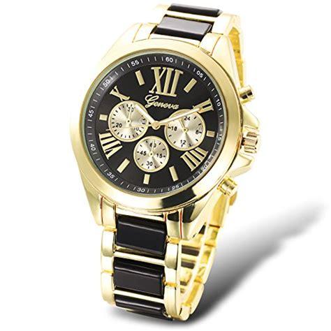 geneva black and gold plated s luxury quartz