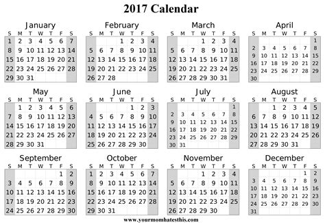 printable calendar 2017 without download 2017 calendar download