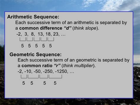 geometric pattern vs arithmetic summary of sequence and series