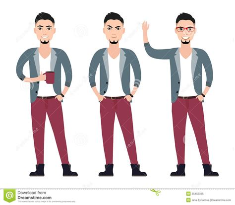Set Femilia character in a suit flat set in stock vector