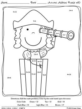 addition fall coloring pages autumn addition math printables color by the code
