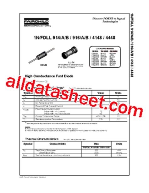 datasheet of zener diode 1n4148 1n4148 datasheet pdf fairchild semiconductor