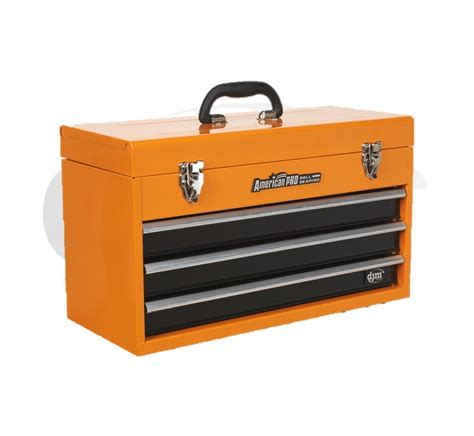 djm orange 3 drawer portable top box tool chest handle