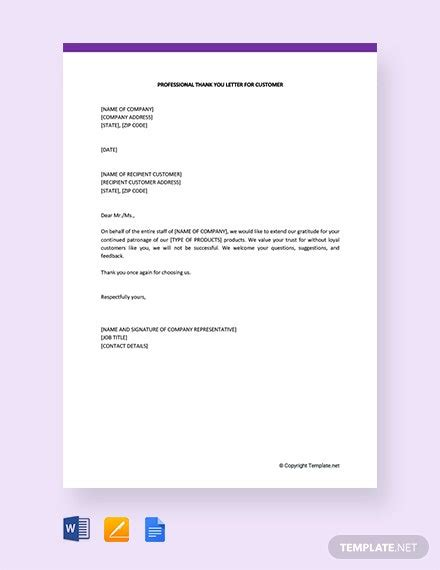professional letter customer template