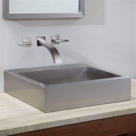 Stainless Bathroom Sinks by 20 Quot Clarendon Stainless Steel Square Vessel Sink Vessel