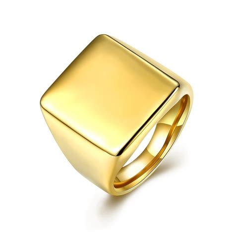 Cincin Titanium Smooth Signet Square Get Cheap Gold Signet Ring Aliexpress