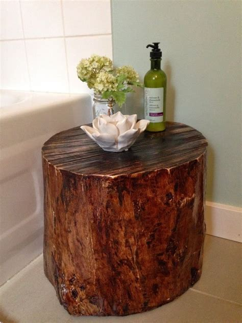 wood stump stool diy pinned it made it tree stump stool for our bathroom