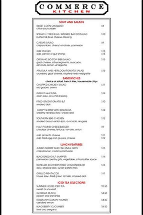 Commerce Kitchen Menu by 2014 Summer Lunch Menu Picture Of Commerce Kitchen