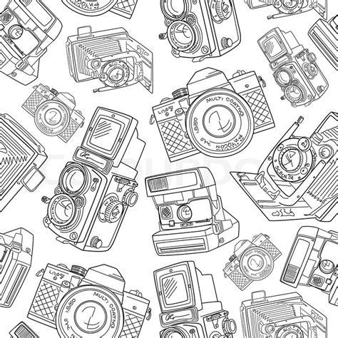 camera pattern background free seamless hand drawn old camera pattern black and white