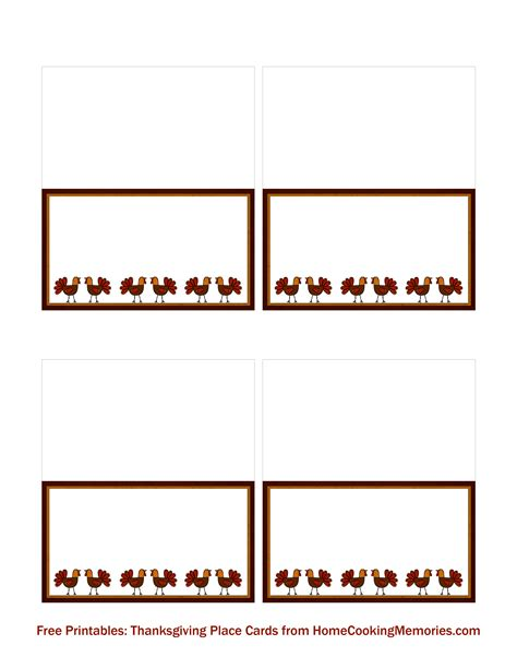 Place Cards Template Free by Free Printables Thanksgiving Place Cards Home Cooking