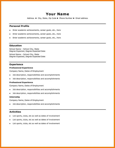 basic resume templates 8 basic cv templates free mailroom clerk