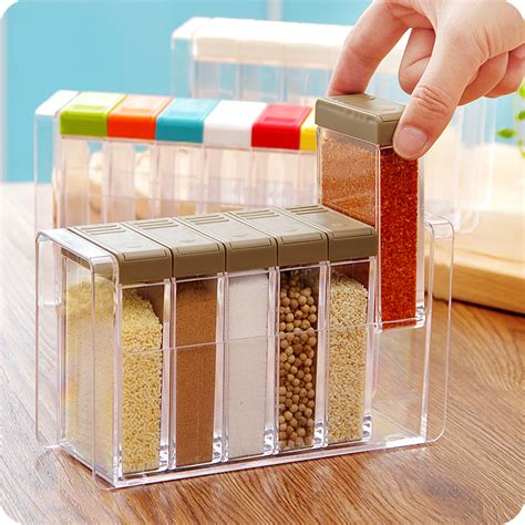 Storage Boxes Bottles Set A kitchen supplies 6pcs transparet plastic seasoning box condiment bottles set salt spice jar