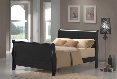 Queen Size Louis Philippe Black Sleigh Style Bed Frame Black Sleigh Bed Frame