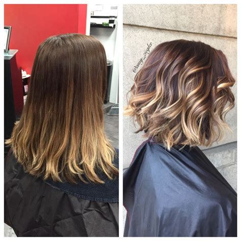 balayage highlights mid length hair before and after balayage short hair before and after