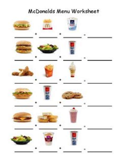 life skills menu worksheet to go along with menu for