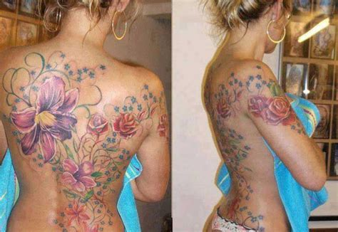 realistic tattoo flowers full back tattoos