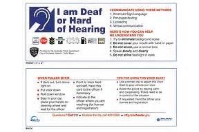 city of rochester deaf driver communication visor card