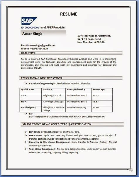 resume format used in india sap sd resume format