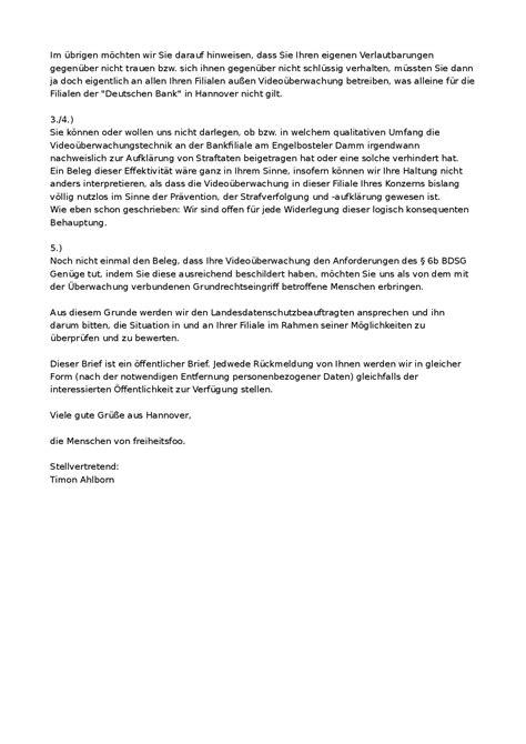 Vielen Dank Und Mit Freundlichen Grüßen Brief Freiheitsfoo Wiki 252 Berwachungderdeutschenbankhannovernordstadt