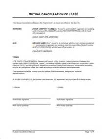 cancellation agreement template cancellation of lease template sle form