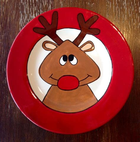 color me mine fresno reindeer plate paint your own pottery paint your pot