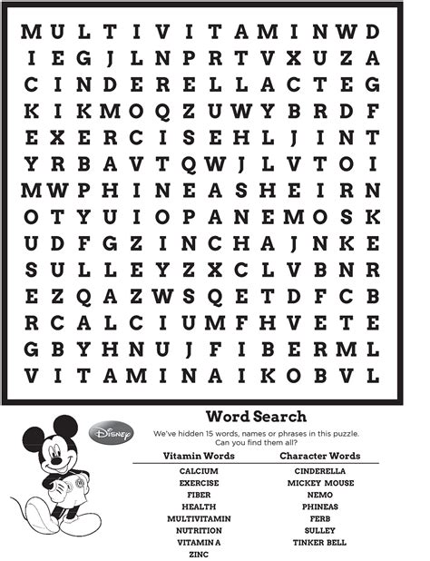 One Look Dictionary Lookup Disney Word Search Puzzle Kiddo Shelter