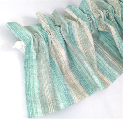 Aqua Blue Window Valance Aqua Valance Curtain Blue Green And Stripes 43