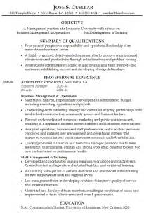 Manager Resume Objective Exles by Resume Operations And Staff Management Position