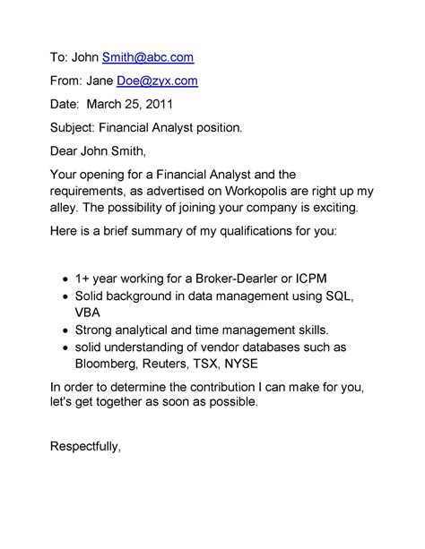 email cover letter samples email cover letter
