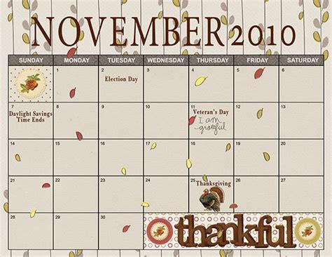 Thanksgiving Calendar November 2010 Calendar Digital Scrapper Photo Gallery