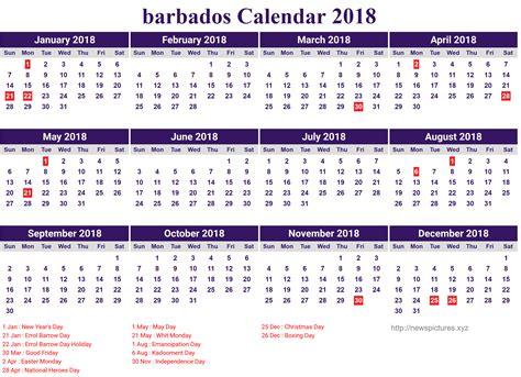 Barbados Calend 2018 Free Barbados Calendar 2018 Printable 2018 Calendar