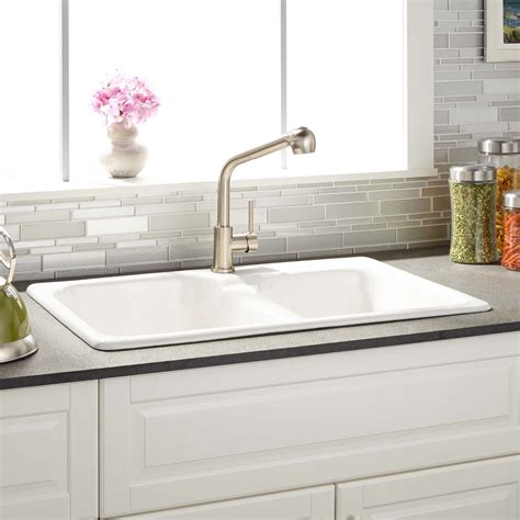 Where To Buy Sinks For Kitchen 33 quot elgin 60 40 offset bowl cast iron drop in