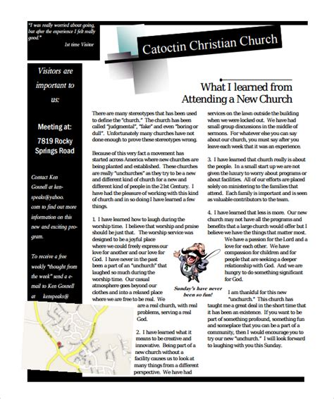newsletter article template sle church newsletter 9 documents in pdf