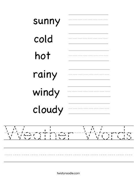 Weather Worksheet by Weather Words Worksheet Twisty Noodle