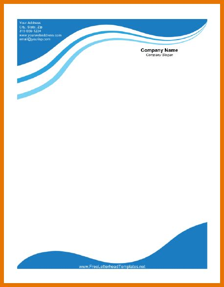 business letterhead with blue waves 8 free letterhead template itinerary template sle