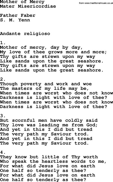 lyrics of mercy catholic hymns for free