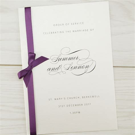 wedding invitation order of violet order of service invitation wedding invites