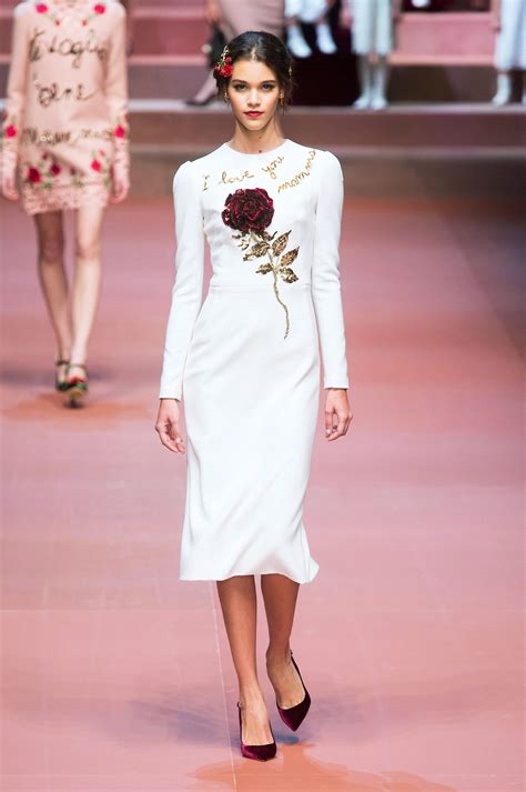 Editorial Dress Of The Month Dolce Gabbana by Model Herzigova In A White Pencil Dress At Vogue
