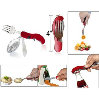 Buy ideals 4 In 1 Pocket Cutlery Set Of Spoon Fork Knife