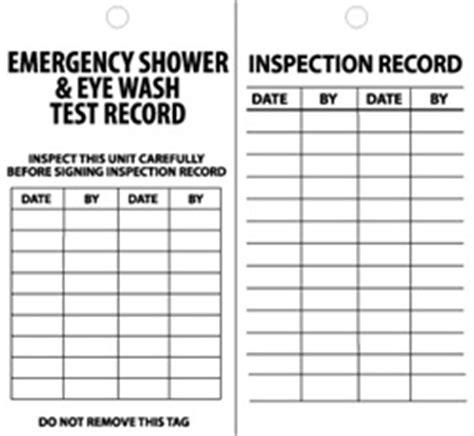 Emergency Shower Eyewash Test Record Tags 25 Pack Eyewash Station Checklist Template