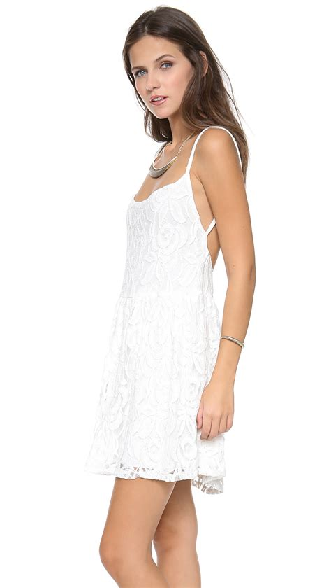 lyst blue lace park mini dress in white