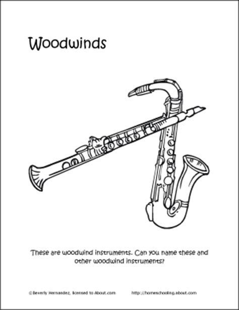 wind instruments coloring pages musical instruments word search crossword puzzle and more