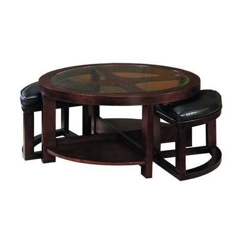 round coffee table with 4 ottomans redell round glass top cocktail table with 4 ottomans in