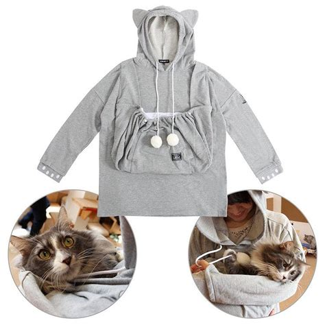 hoodie with pouch cat friendly hoodie comes with an wide pouch for holding cats pleated