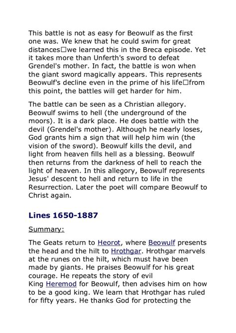beowulf summary by section beowulf summary